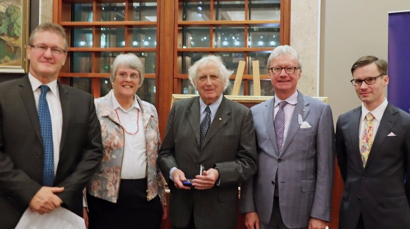 Image: The presentation of the 2017 John Douglas Kerr Medal of Distinction, Queensland Day Dinner, The Brisbane Club, 6 June 2017. L to R, Stephen Sheaffe, Acting President, Royal Historical Society of Queensland; Dr Ruth Kerr OAM; Emeritus Professor Geoffrey Blainey AC; His Excellency the Honourable Paul de Jersey AC, Governor of Queensland; Timothy Roberts, Vice-President, Professional Historians Association (Qld)