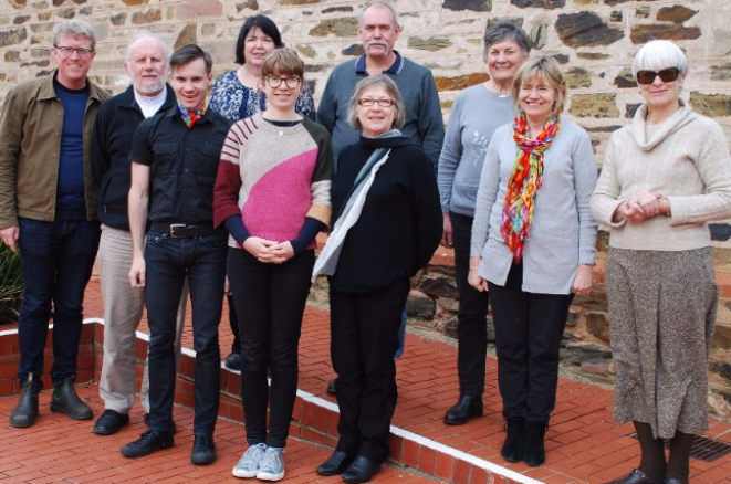 Image: PHA Delegates and Alternate Delegates at the Migration Museum, Sunday 20 August 2017. L to R: Mark Dunn (Alternate Delegate PHA NSW/ACT), Peter Donovan (Delegate PHA SA), Tim Roberts (Alternate Delegate PHA Qld), Carmel Black (Delegate PHA Qld), Fiona Poulton (Alternate Delegate PHA Vic/Tas), Alan Davis (Delegate PHA NT), Jill Barnard (Delegate PHA Vic/Tas; President PHA), Sue Graham-Taylor