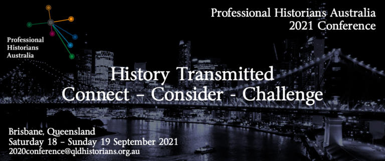 Professional Historians Australian 2021 Conference banner image